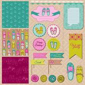 Scrapbook Design Elements - Baby Girl Shoes - in vector — Stock Vector