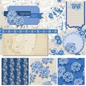 Notatnik projekt elementów - vintage kwiaty niebieski - wektor — Wektor stockowy