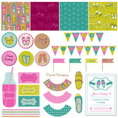 Baby Girl Shoes Party Set - for birthday, decoration, scrapbook — Stock Vector