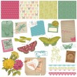 Scrapbook Design Elements - Vintage Butteflies and Flowers - in  — Stock Vector