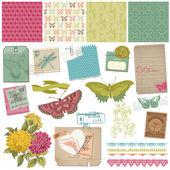 Scrapbook Design Elements - Vintage Butteflies and Flowers - in — Stock Vector