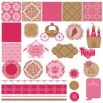 Scrapbook Design Elements - Princess Girl Birthday Set - in vect — Stock Vector