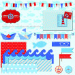 Scrapbook Design Elements - Nautical Sea Theme - for scrapbook a — Stock Vector
