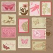 Retro Postage Stamps - with butterflies and flowers - for weddin — Stock Vector #23582897