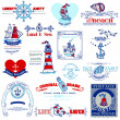 Nautical Sea Calligraphic Elements - for scrapbook and design in — Stock Vector