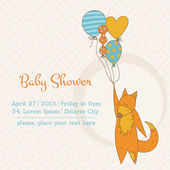 Baby Girl Shower or Arrival Card with Place for your text in vec — Stock Vector
