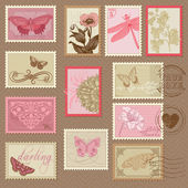 Retro Postage Stamps - with butterflies and flowers - for weddin — Stock Vector