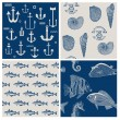 Fish and Marine Background Set - for scrapbook or design — Stock Vector