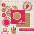 Scrapbook Design Elements - Princess Girl Birthday Set — Stock Vector