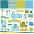 Scrapbook Design Elements - Baby Bicycle Set — Stock Vector