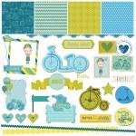 Scrapbook Design Elements - Baby Bicycle Set — Stock Vector #24373339