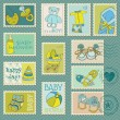 Royalty-Free Stock Imagem Vetorial: Baby Boy Postage Stamps - arrival, announcement, congratulation