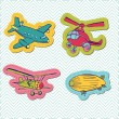 Royalty-Free Stock Vector Image: Set of Baby Boy Plane Stickers - for design and scrapbook - in v
