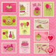 Birthday Postage Stamps - for scrapbook, invitation — Imagens vectoriais em stock