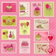 Birthday Postage Stamps - for scrapbook, invitation - Stock Vector