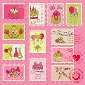 Birthday Postage Stamps - for scrapbook, invitation — Stock Vector