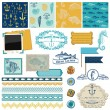 Scrapbook Design Elements - Nautical Sea Theme — Stock Vector