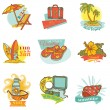 Set of Vintage Summer Labels - for design or scrapbook - in vect — Stock Vector