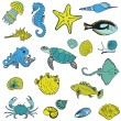 Sea life Animals - Hand drawn collection in vector — Stock Vector #25025345