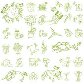Ecology and recycle icons - hand drawn vector set — Stock Vector