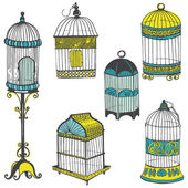 Birdcages Collection - for design or scrapbook - in vector — Stock Vector