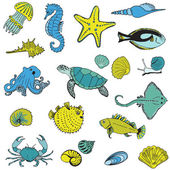 Sea life Animals - Hand drawn collection in vector — Stock Vector