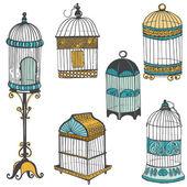Kolekcja klatki dla ptaków - projekt lub notatnik - wektor — Wektor stockowy