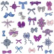 Set of gift Bows with Ribbons - for design and scrapbook — Imagen vectorial