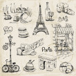 Paris Illustration Set - for design and scrapbook - in vector — Stock Vector