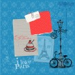 图库矢量图片: Scrapbook Design Elements - Paris Vintage Card with Stamps