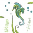 Stock Vector: Tropical Seahorse background - in vector