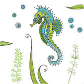 Tropical Seahorse background - in vector — Stock Vector