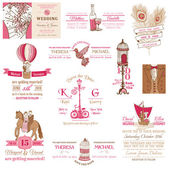 Wedding Vintage Invitation Collection - for design, scrapbook — Stock Vector