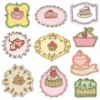 Stock Vector: Set of Cute Cake Tags - for design or scrapbook - in vector