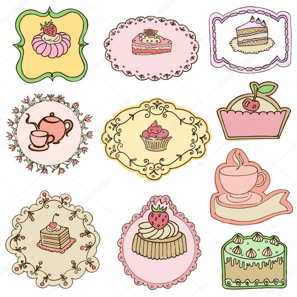 pastel - para el diseño o scrapbook - Vector - Ilustración de stock