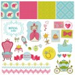 Princess Girl Set - for design and scrapbook - in vector — Stock Vector