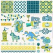 Stok Vektör: Scrapbook Design Elements - Little Prince Boy Set - in vector