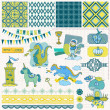 Stock Vector: Scrapbook Design Elements - Little Prince Boy Set - in vector