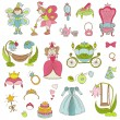 Princess Girl Set - for design and scrapbook - in vector — Stock Vector #27953469