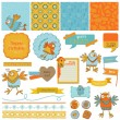 Scrapbook Design Elements - Cute Birds - in vector — Stock Vector