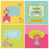 Princess Girl Card Set - for design and scrapbook — Stock Vector