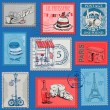 Set of Stamps - Vintage Paris and France — Stock Vector