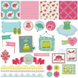 Scrapbook Design Elements - Baby Girl Set - in vector — Stock Vector