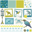 Scrapbook Design Elements - Vintage Birds Set — Stock Vector