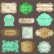 Vintage Paper Wedding Frame collection - various tags and frames — Stock Vector