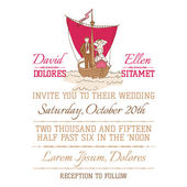 Wedding Vintage Invitation Card - Nautical Theme — Stock Vector