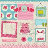 Scrapbook Design Elements - Baby Girl Set - in vector — Stock Vector