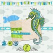 Scrapbook Design Element - Tropical Fish and Sea Horse Theme — Stock Vector
