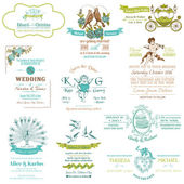 Wedding Vintage Invitation Collection - for design, scrapbook — Stock Vector