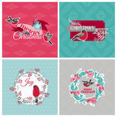 Christmas Cards with Birds and Wreath -for design and scrapbook — Stock Vector